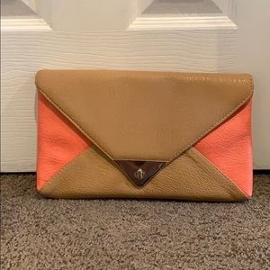 NWT Style & co Clutch Bag Tan and Coral